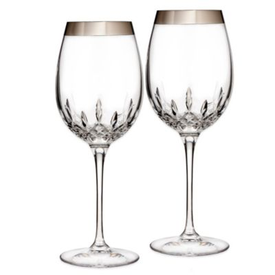 Waterford® Lismore Essence Platinum Wide Band Goblet (Set of 2)