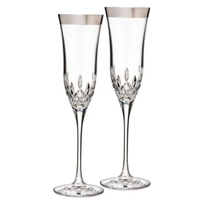 Waterford® Lismore Essence Platinum Wide Band Champagne Flute (Set of 2)