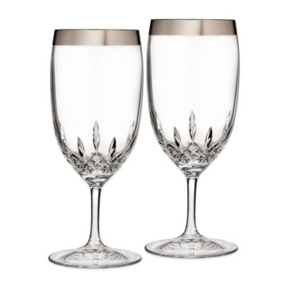 Waterford® Lismore Essence Platinum Wide Band Iced Beverage Glass (Set of 2)