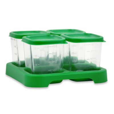 green sprouts® by i play.® 4 oz. Glass Food Storage Cubes in Green (Set of 4)