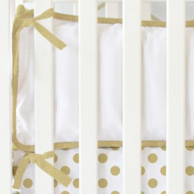 Caden Lane® White Pique 4-Piece Bumper in Gold