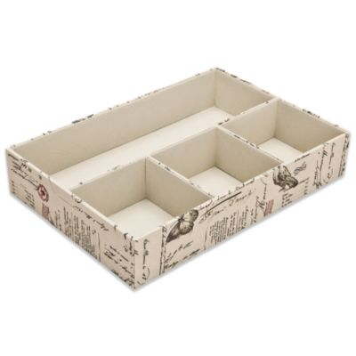 4-Compartment Drawer Organizer in Passport Print