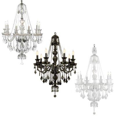 Gallery Venetian Style Crystal 7-Light Chandelier in Black