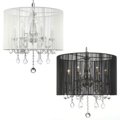 Gallery Crystal 6-Light Chandelier with Shade in Black