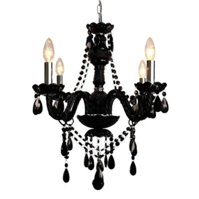 Gallery Crystal Jet 4-Light Chandelier in Black