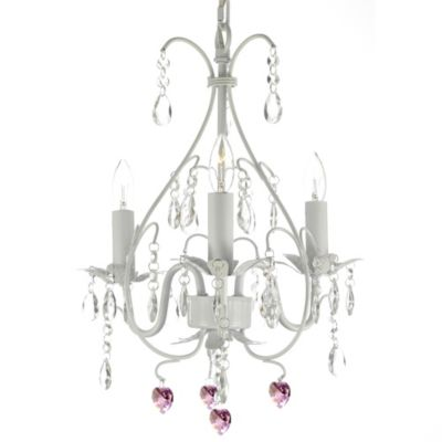 Wrought Iron Crystal 3-Light Chandelier