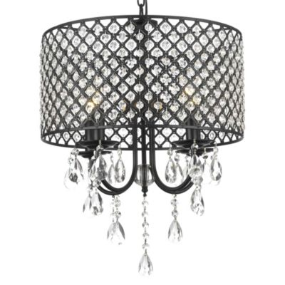 Gallery Wrought Iron Crystal 4-Light Chandelier
