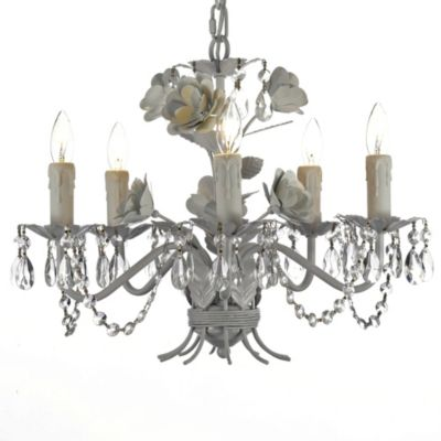 Gallery Wrought Iron Crystal Floral 5-Light Chandelier