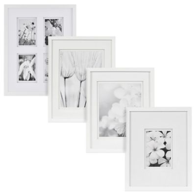 Real Simple® White Wood Wall Frame with White Double Mats for 5-Inch x 5-Inch Photo