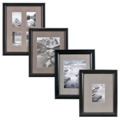 Real Simple® Deep Black Wood Wall Frame with Grey Mat for 5-Inch x 5-Inch Photo