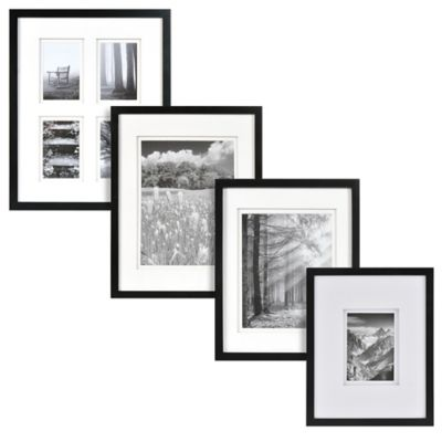 Real Simple® Black Wood Wall Frame with White Double Mats for 14-Inch x 11-Inch Photo