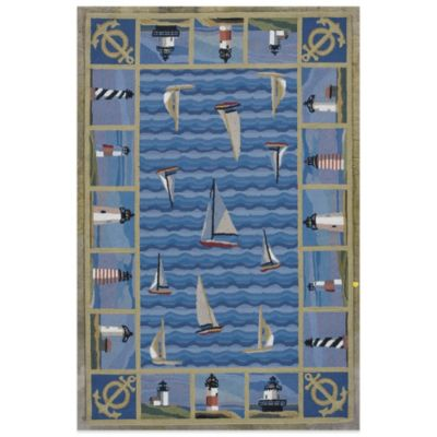 KAS Colonial Lighthouses 8-Foot x 10-Foot 6-Inch Indoor Rug in Blue