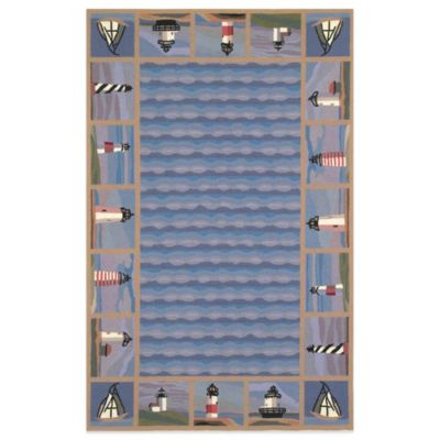 KAS Colonial Lighthouse Waves 5-Foot 3-Inch x 8-Foot 3-Inch Rug in Blue