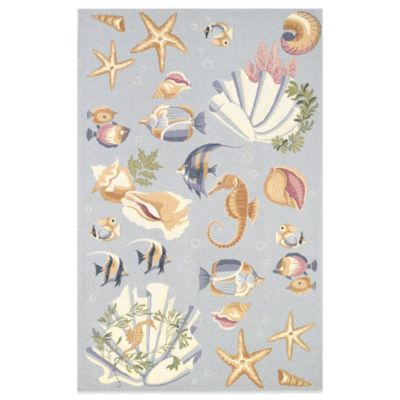 KAS Colonial Ocean Life 3-Foot 6-Inch x 5-Foot 6-Inch Indoor Rug in Light Blue