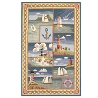 KAS Colonial Coastal Views 5-Foot 3-Inch x 8-Foot 3-Inch Indoor Rug in Blue