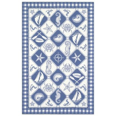 KAS Colonial Nautical Panel 5-Foot 3-Inch x 8-Foot 3-Inch Indoor Rug in Blue/Ivory