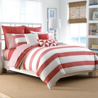 Nautica® Lawndale Reversible Full/Queen Comforter Set in Coral