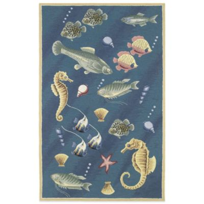 KAS Colonial Deep Sea 5-Foot 3-Inch x 8-Foot 3-Inch Indoor Rug in Blue