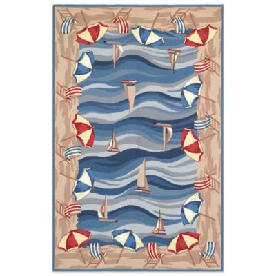 KAS Colonial On the Beach 2-Foot 6-Inch x 4-Foot 2-Inch Indoor Rug in Blue