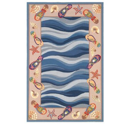 KAS Colonial Fun in the Sun 5-Foot 3-Inch x 8- Foot 3-Inch Indoor Rug in Blue
