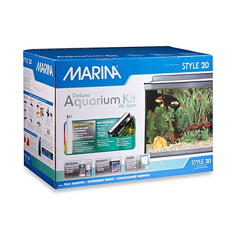 Marina style deluxe 20 gallon glass aquarium kit bed for 20 gallon fish tank kit