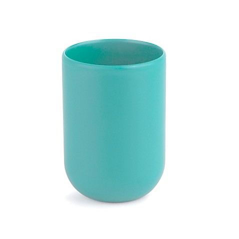 Buy umbra touch bath tumbler in surf blue from bed bath for Bathroom tumbler