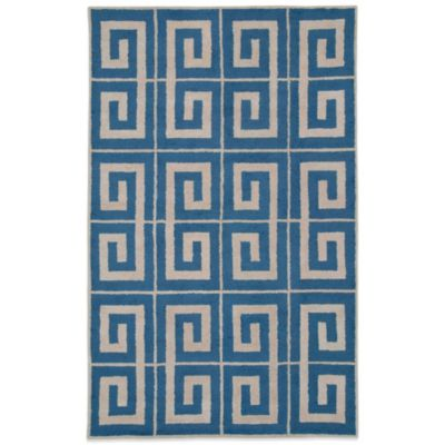 Rizzy Home Vicky Payne Collection Greek Key 3-Foot x 5-Foot Rug in Blue