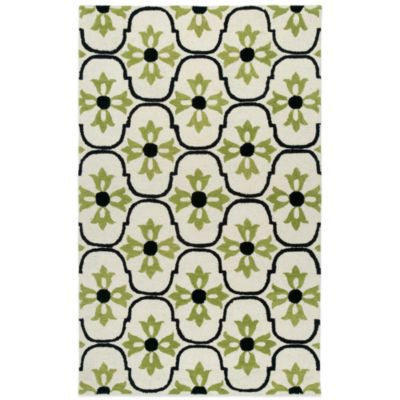 Rizzy Home Vicki Payne Collection Floral 3-Foot x 5-Foot Rug in White