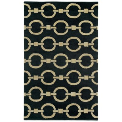 Rizzy Home Vicky Payne Collection Chain 3-Foot x 5-Foot Rug in Black