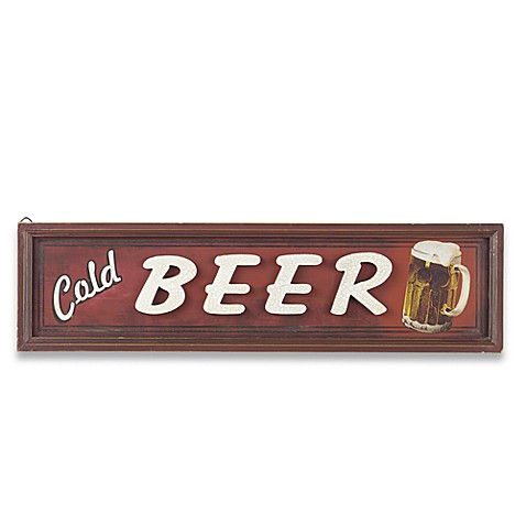 Vintage Cold Beer Sign Wall Plaque