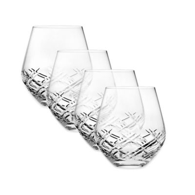 Top Shelf Bevel Crystal Stemless Wine Glasses (Set of 4)