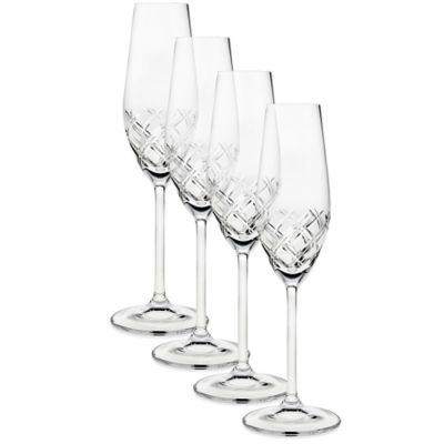 Top Shelf Bevel Crystal Toasting Flutes (Set of 4)