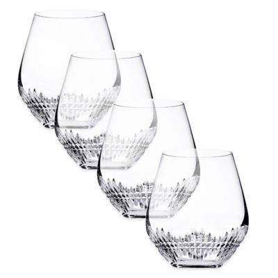 Top Shelf Facets Crystal Stemless Wine Glasses (Set of 4)