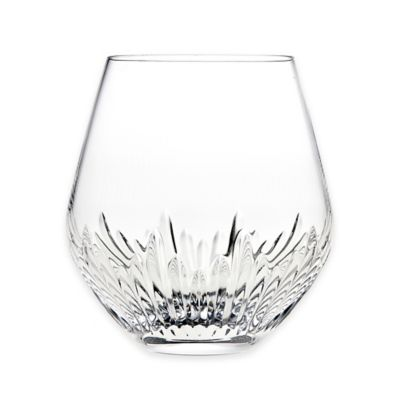 Top Shelf Sculpt Cut Crystal Stemless Wine Glasses (Set of 4)