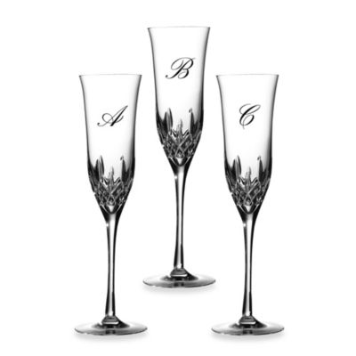 "Waterford® Lismore Essence Monogram ""C"" Champagne Flutes (Set of 2)"