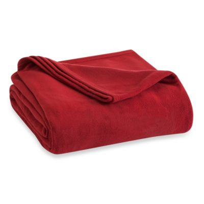 Vellux Fleece Twin Blanket in Sun Dried Tomato Red