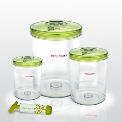 Vacucraft 4-Piece Cylinder Vacuum Seal Food Container Set