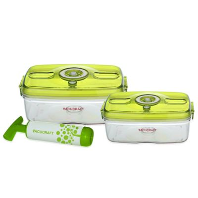 Vacucraft 3-Piece Rectangular Vacuum Seal Food Container Set