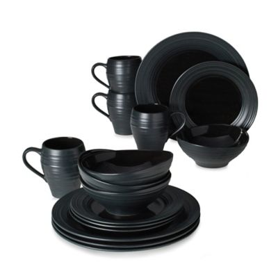 Mikasa® Swirl 16-Piece Dinnerware Set in Black