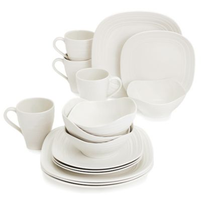 Swirl Square White 16-Piece Dinnerware Set