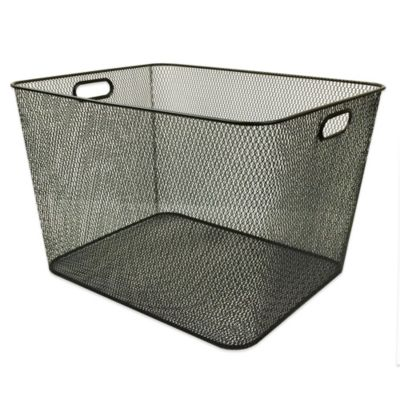 Durable Mesh Large Storage Bin in Black