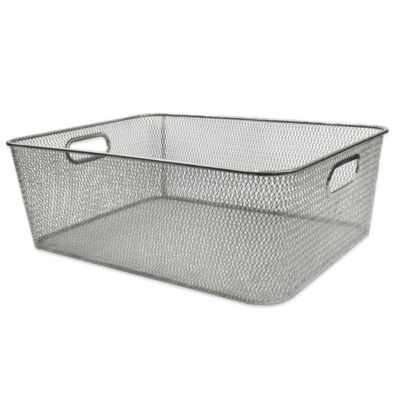 Durable Mesh Shallow Bin in Silver