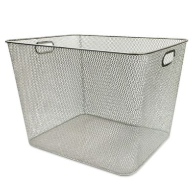 Durable Mesh Large Bin in Silver
