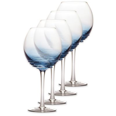 Mikasa® Swirl Balloon Glasses in Cobalt (Set of 4)
