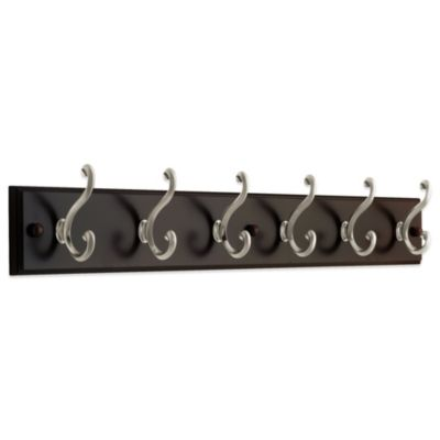 6-Hook Coat and Hat Rack in Espresso