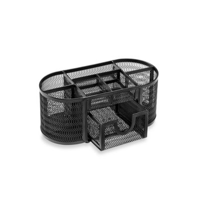 Mesh Oval Desk Organizer in Black