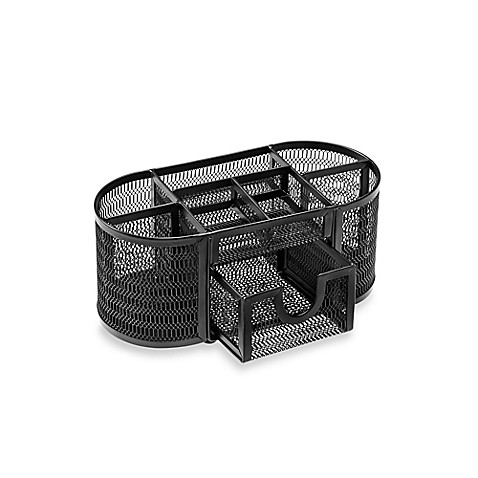 Buy mesh oval desk organizer in black from bed bath beyond - Black mesh desk organizer ...