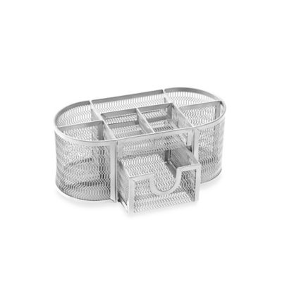 Mesh Oval Desk Organizer in Silver