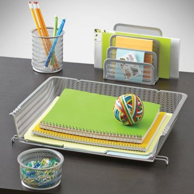 Mesh Desk Organizer 4-Piece Set in Silver