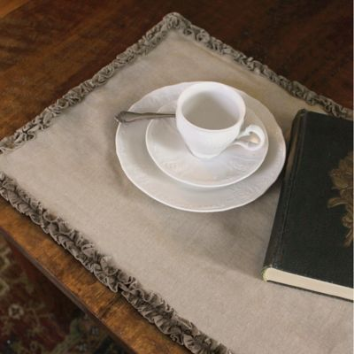 Downton Abbey® Ruffled Luxury Collection 36-Inch x 14-Inch Linen Table Runner